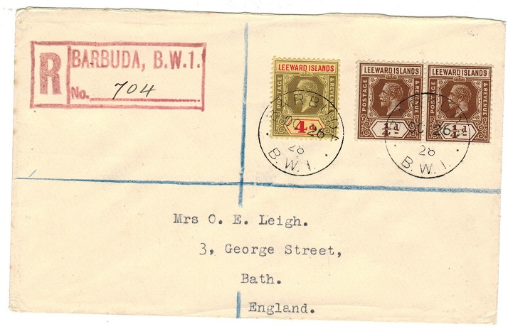 BARBUDA - 1928 4 1/d rate registered cover to UK used at BARBUDA.
