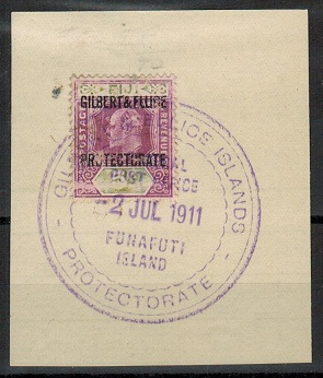 GILBERT AND ELLICE IS - 1911 5d (SG 5) used at FUNAFUTI ISLAND.