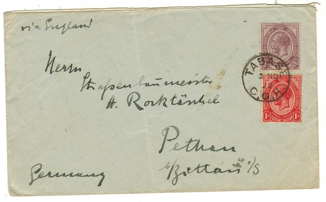 SOUTH AFRICA - 1922 3d rate cover to Germany used at TABASE.