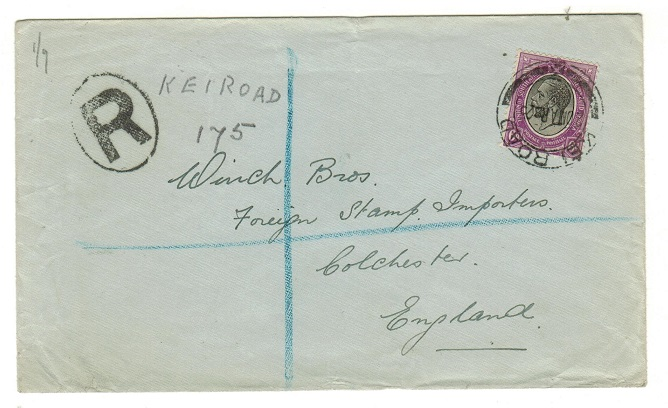 SOUTH AFRICA - 1925 6d rare registered cover to UK used at KEI ROAD.