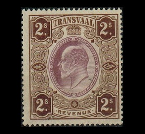 TRANSVAAL - 1902 2/- brown and purple REVENUE mint.