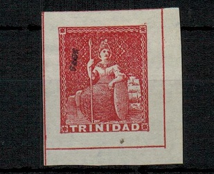 TRINIDAD AND TOBAGO - 1851 1d (no value) FOURNIER PROOF forgery handstamed FAUX.