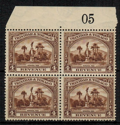 TRINIDAD AND TOBAGO - 1934 4c brown REVENUE mint block of four.