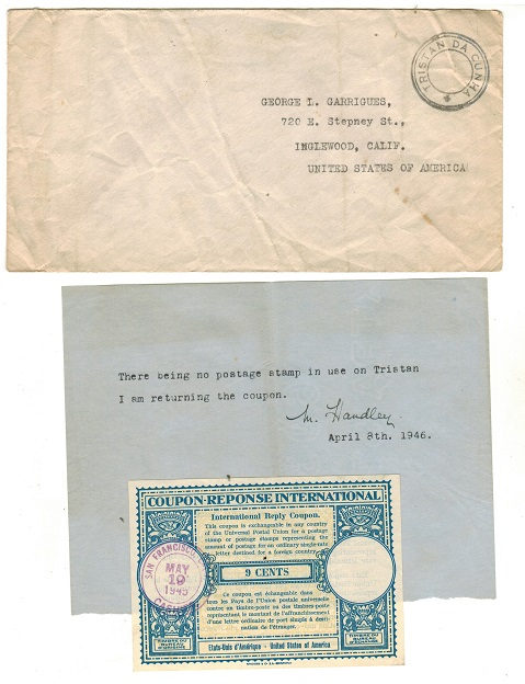 TRISTAN DA CUNHA - 1945 stampless handstamped cover to USA with original International Reply Coupon.
