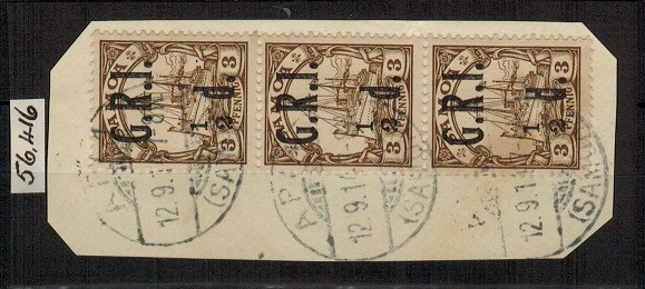 SAMOA - 1914 1/2d on 3pfg brown used strip of three showing MISSING FRACTION BAR.  SG 101b.