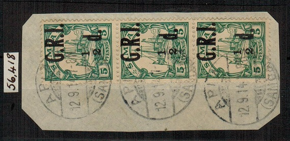 SAMOA - 1914 1/2d on 5pfg green used strip of three showing the MISSING FRACTION BAR.  SG 102b.