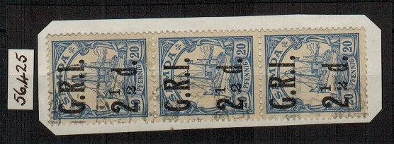 SAMOA - 1914 2 1/2d on 20pfg blue used strip of three showing the MISSING FRACTION BAR.  SG 104a.