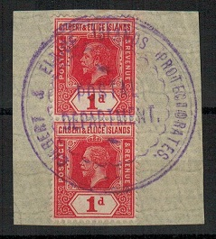 GILBERT AND ELLICE IS - 1912 1d pair used at POSTAL DEPARTMENT.
