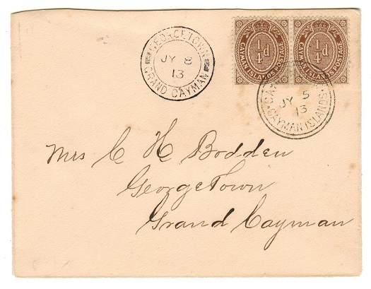 CAYMAN ISLANDS - 1913 scarce 1/4d (x2) local franking cover used at CAYMAN BRAC.