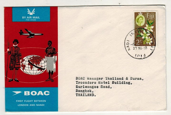 FIJI - 1965 first flight cover to Thailand.