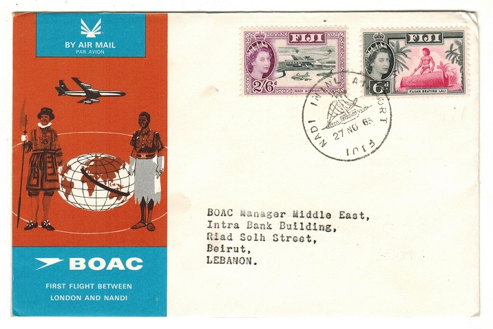 FIJI - 1965 first flight cover to Lebanon.