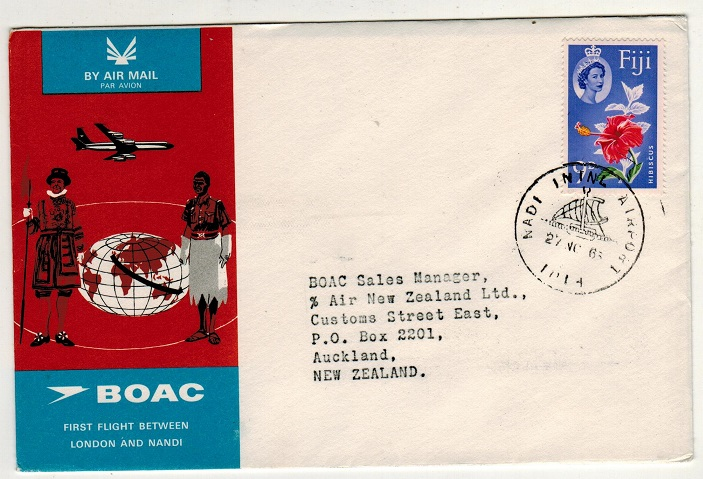 FIJI - 1965 first flight cover to New Zealand.