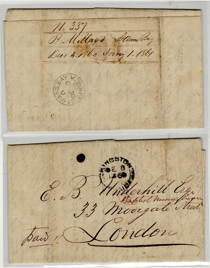 JAMAICA - 1860 stampless entire to UK used at ST.ANN