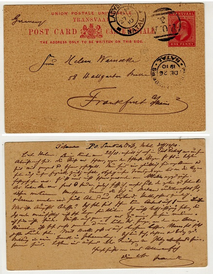 NATAL - 1902 1d carmine PSC to Germany cancelled