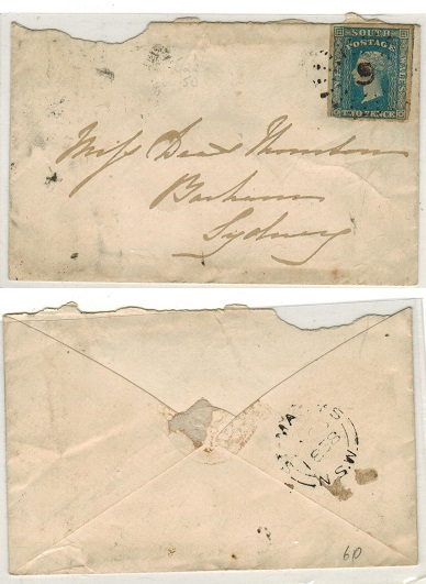 AUSTRALIA (South Australia) - 1858 2d rate cover addressed to Sydney struck by starburst