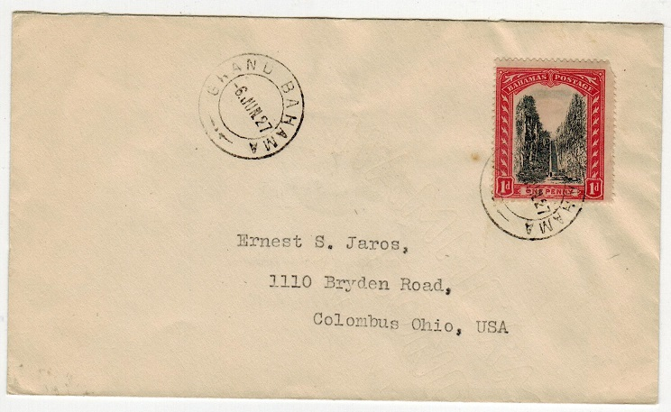 BAHAMAS - 1927 1d rate cover to USA used at GRAND BAHAMA.