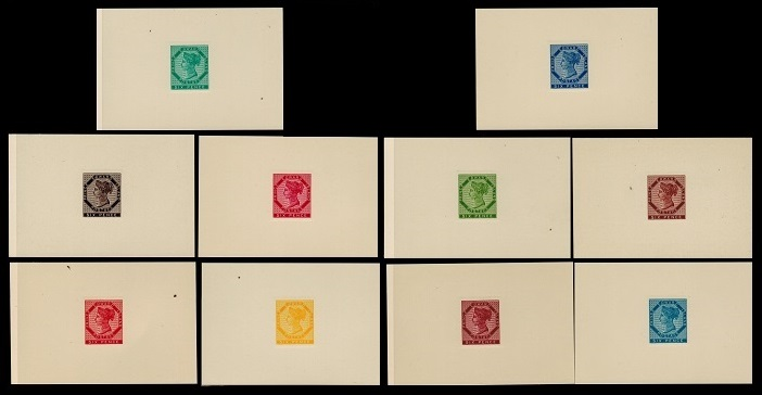PRINCE EDWARD ISLAND - 1861 set of ten reprinted DIE PROOFS.