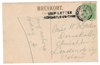 GREAT BRITAIN - 1911 1/2d postcard use to Ireland struck