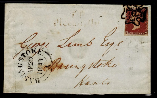 GREAT BRITAIN - 1843 1d red local cover with MALTESE CROSS/6 strike.  SG 10m.