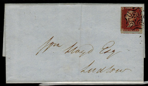 GREAT BRITAIN - 1841 (circa) local 1d red cover struck by MALTESE CROSS/7 strike.  SG 8m.