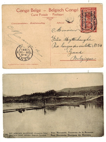 TANGANYIKA (Belgian Occuptation) - 1917 10c red-brown PSC to Belgium used at KIGOMA.  H&G 2.