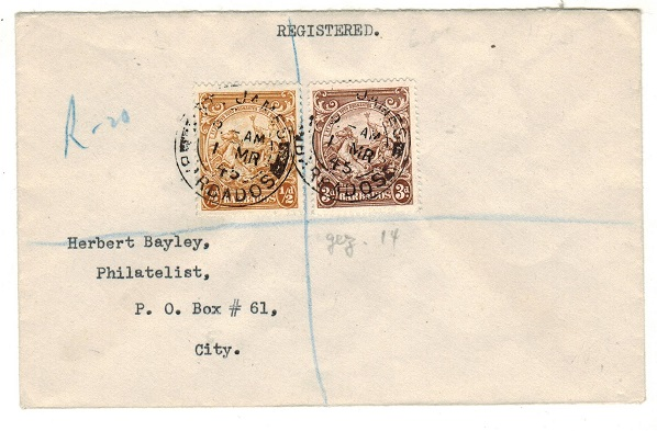 BARBADOS - 1945 3 1/2d rate local registered cover used at ST.JAMES/BARBADOS.