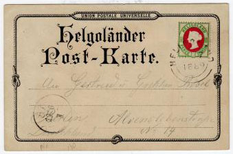 HELIGOLAND - 1889 use of coloured UPU postcard with 1 1/2d (10pfg) stamp.