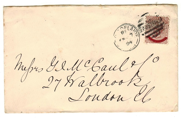 AUSTRALIA (South Australia) - 1894 cover to UK bearing 5d on 6d surcharge used at ADELAIDE.