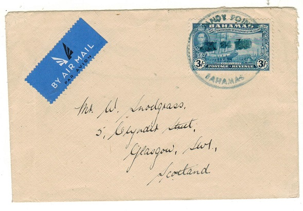 BAHAMAS - 1948 3/- rate cover to UK used at SANDY POINT.