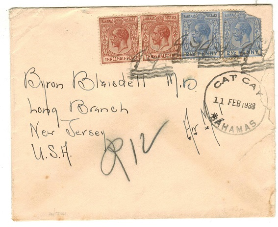 BAHAMAS - 1938 cover to USA (fault) cancelled by