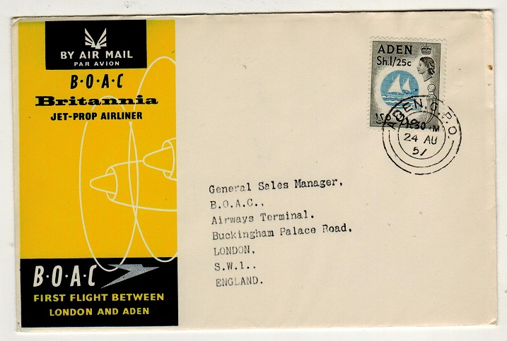 ADEN - 1957 first flight cover to UK.