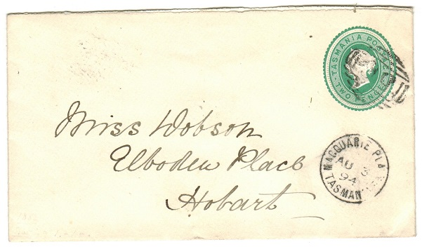 AUSTRALIA (Tasmania) - 1883 2d green PSE used locally from MACQUARIE PLAINS.  H&G 1.