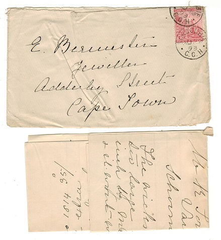 CAPE OF GOOD HOPE - 1893 local 1d rate cover used at SCHOOMBIE.