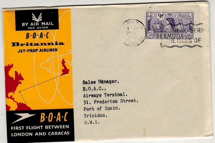 BERMUDA - 1958 first flight cover to Trinidad.