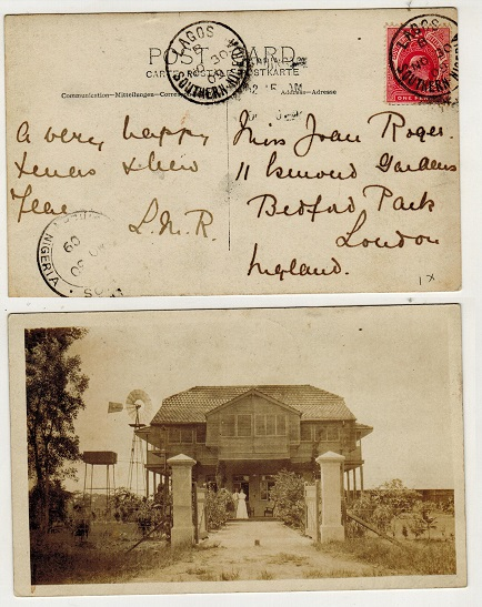 SOUTHERN NIGERIA - 1909 1d rate postcard use to UK used at LAGOS.