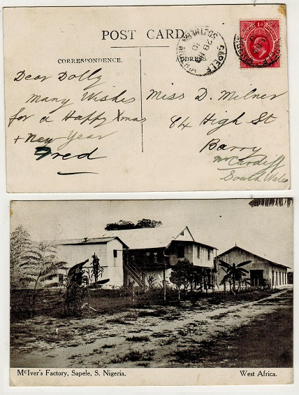 SOUTHERN NIGERIA - 1910 1d rate postcard use to UK used at SAPELE.