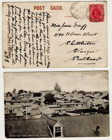 SOUTHERN NIGERIA - 1909 1d rate postcard use to UK used at WARRI.