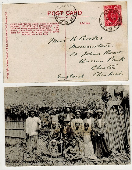 SOUTHERN NIGERIA - 1910 1d rate postcard use to UK used at WARRI.