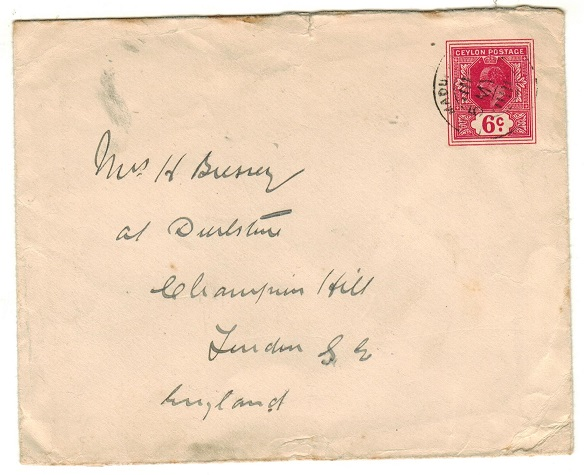 CEYLON - 1908 6c carmine-rose PSE to UK used at MADULKELE.  H&G 26.