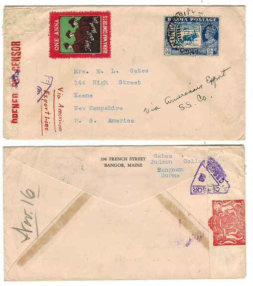 BURMA - 1941 censor cover to USA used at RANGOON UNIVERSITY with 1a BURMA WAR COMFORTS label.