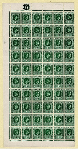 LEEWARD ISLANDS - 1949 1d blue green mint sheet of 60 showing