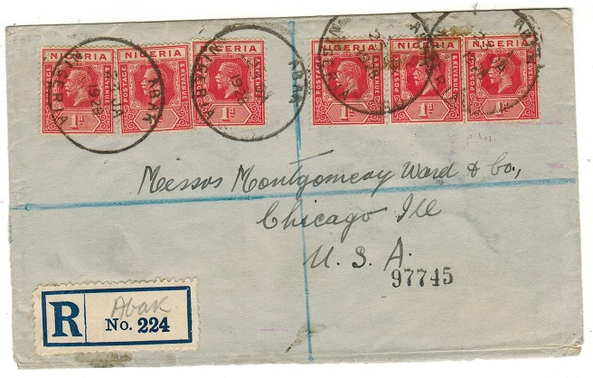 NIGERIA - 1928 6d rate registered cover to USA used at ABAK.