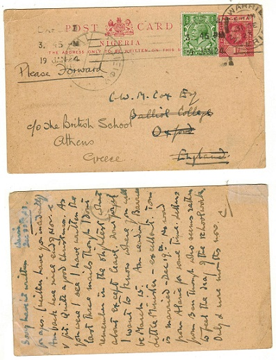 NIGERIA - 1914 1d red PSC (corner crease) uprate to UK used at WARRI. Unlisted by H&G.