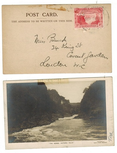 RHODESIA - 1905 1d rate postcard use to UK struck BRITISH ASSOCIATION/BULAWAYO.