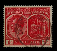 ST.KITTS - 1921 1d (SG 38) cancelled OFFICIAL PAID/NEVIS.