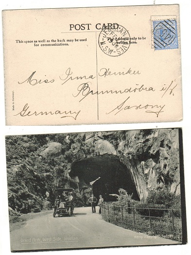AUSTRALIA (N.S.W.) - 1908 2d rate postcard use to Germany used at JENOLAN.
