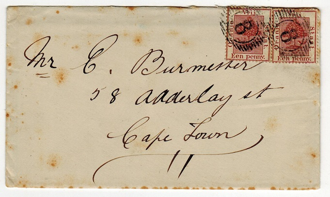 ORANGE FREE STATE - 1889 2d rate cover to Cape Town cancelled