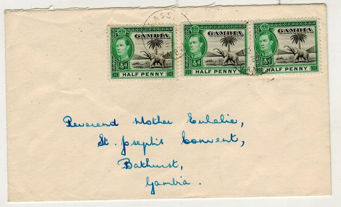 GAMBIA - 1955 1 1/2d rate local cover used at BASSE.