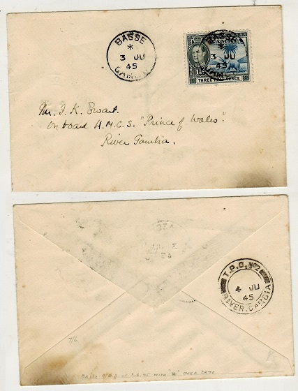 GAMBIA - 1945 1 1/2d rate local cover to