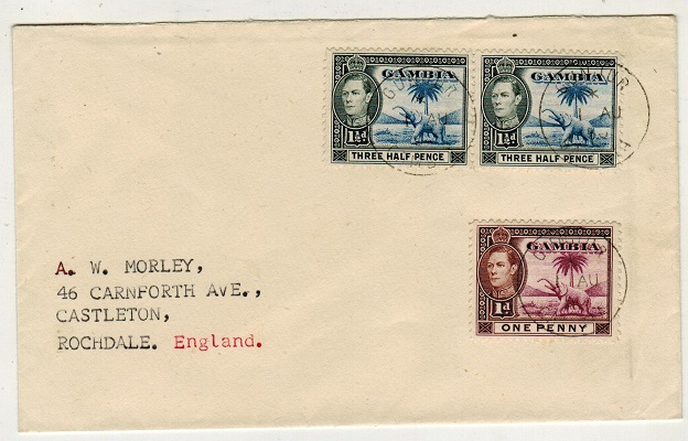 GAMBIA - 1950 4d rate cover to UK used at GUNJUR.
